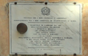 Palla di cannone sul fianco di sinistro di San Pietro in Montorio al Gianicolo (via Garibaldi)