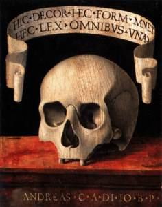 Andrea Previtali detto Cordeliaghi, Memento Mori - pannello (verso), tempera su tavola. 1502 ca. Milano, Museo poldi Pezzoli